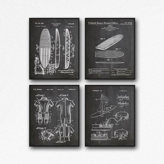 Surfing Posters Set of Surf Prints Surf Patents Set of Surf Posters Surf Wall Art Surf Art Surfboard Poster Beach Decor Beach Print  WB053