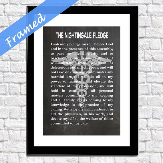 Nurse Graduation Gift Gift For Nurse Framed The Nightingale Pledge Framed Art Print