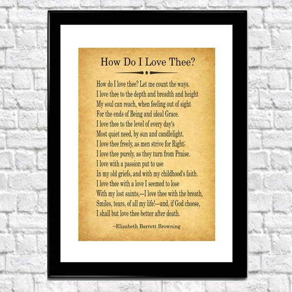 Gift For Husband Gift For Boyfriend  Gift Love Poem 'How Do I Love Thee?' by Elizabeth Barrett Browning