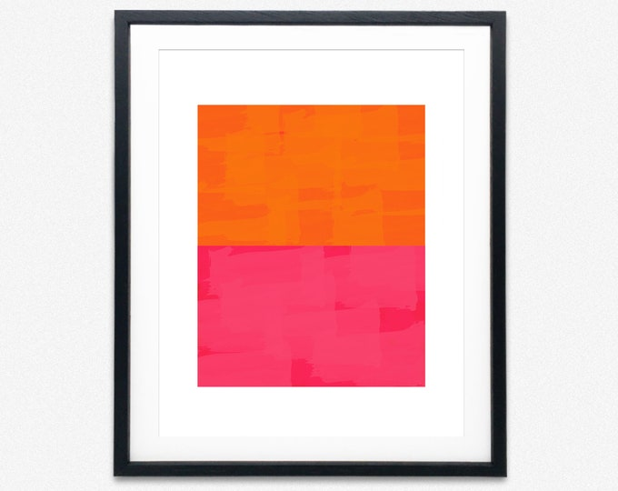 Abstract Burnt Orange and Pink Abstract Wall Art