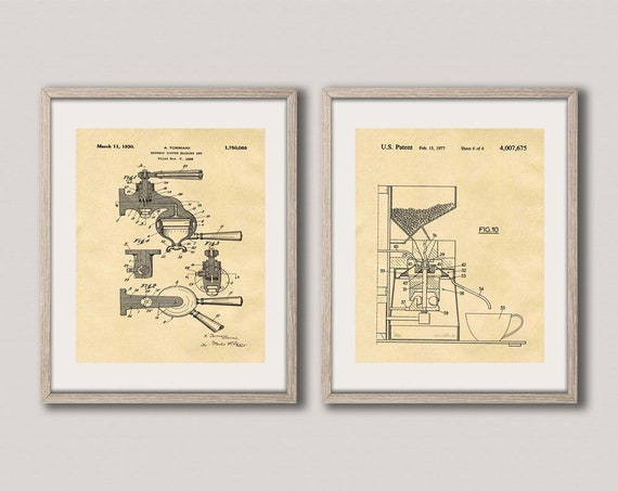 Barista Poster Barista Art Set of 2 Coffee Patent Posters Coffee Blueprints