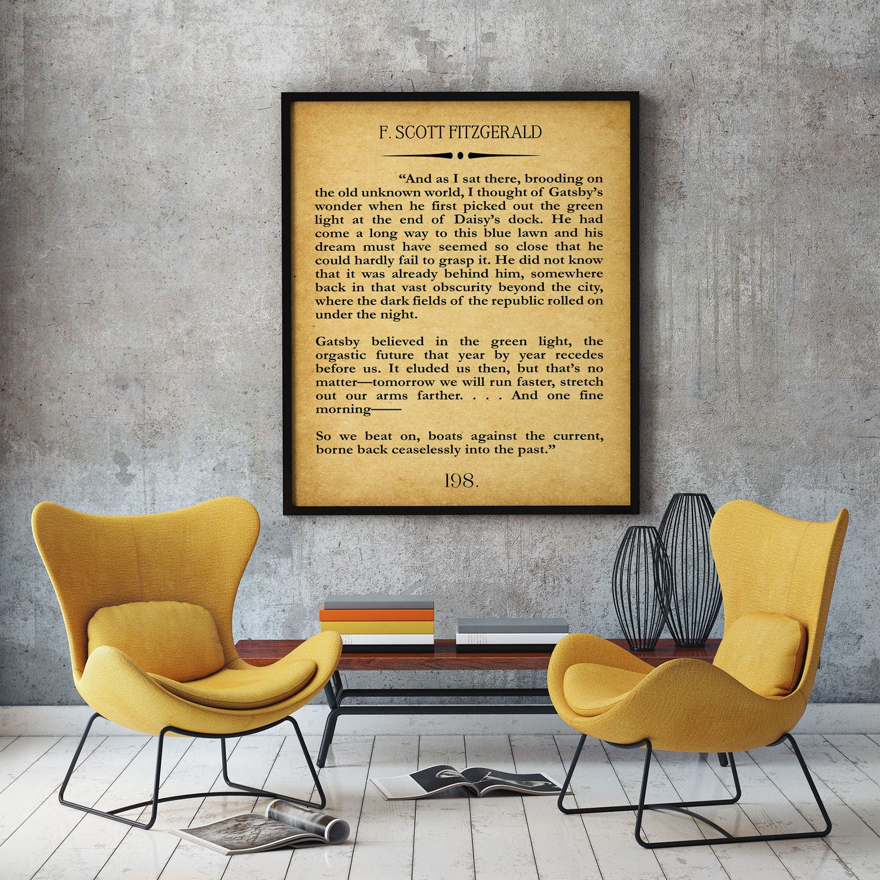 The Great Gatsby Last Page Quote Print Gatsby Wall Art Gatsby Poster ...
