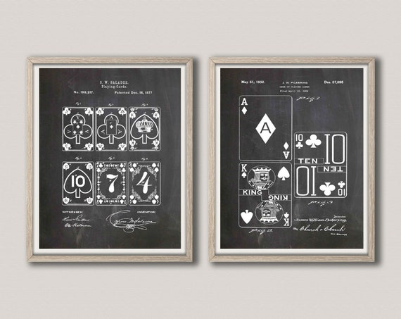 Poker Room Decor Playing Cards Patent Prints Set of 2 WB469-470