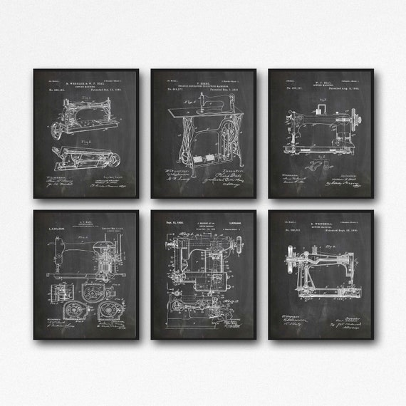 Sewing Room Decor Sewing Wall Art Set of 6 Sewing Blueprints WB471-476