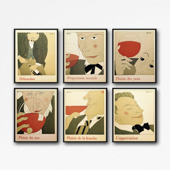 Wine Poster Wine Prints set of 6 Wine Posters Wine Gift Wine Wall Art Wine Decor Wine Art Wine Decor Wine Bar Print Wine Pub Posters French