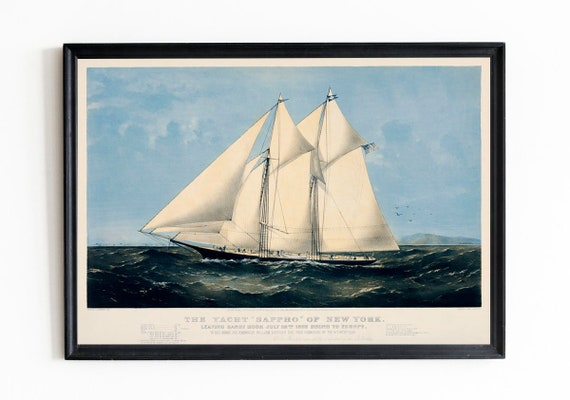 Yachting Decor Vintage Yacht Print Nautical Decor