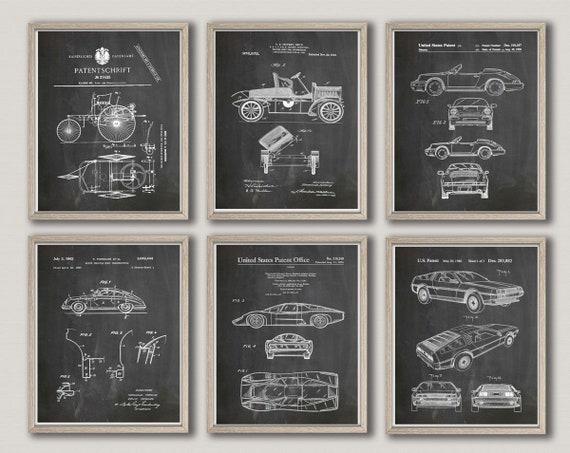 Car Poster Car Wall Art Car Prints Motor Car Design Prints Vintage Car Garage Decor Mechanic Gift for Mechanic Grand Prix Art WB331-WB336
