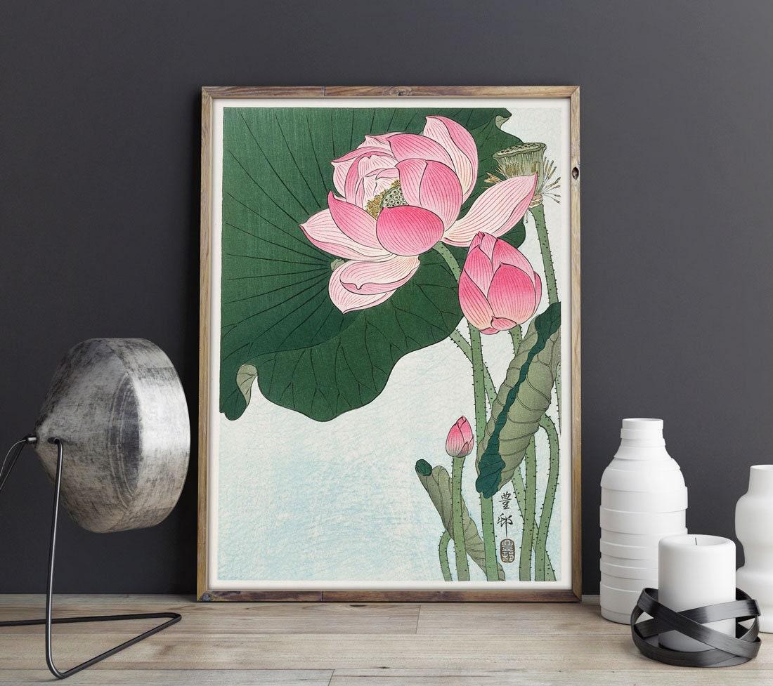 Lotus Flower Drawing Lotus Flower Poster Lotus Flower Woodblock