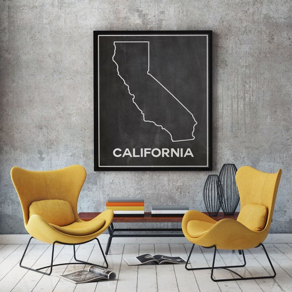 California Map of California in Chalkboard Poster California Decor Los Angeles Poster Hollywood Poster Bay Area Poster Sacramento Poster