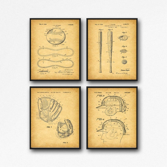 Classic Baseball Decor Baseball Poster Set of 4 WB446-451