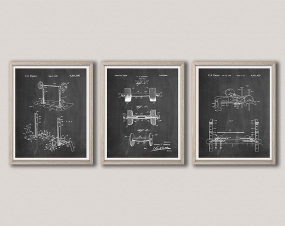 Weight Lifting Prints Set of 3 Crossfit Weight Lifting Patent Prints Weight Lifter Gift Fitness Wall Art Fitness Prints WB282-284-285