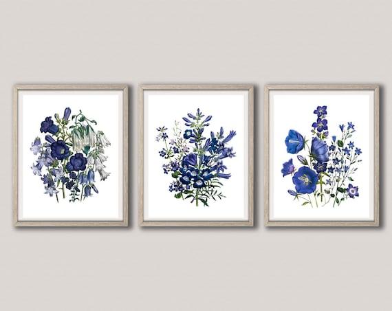 Blue Wall Art Blue Flower Botanical Prints Set of 3 Flower Botanical Posters Flower Watercolor Art Watercolor Botanical Art WBOT101-WBOT103
