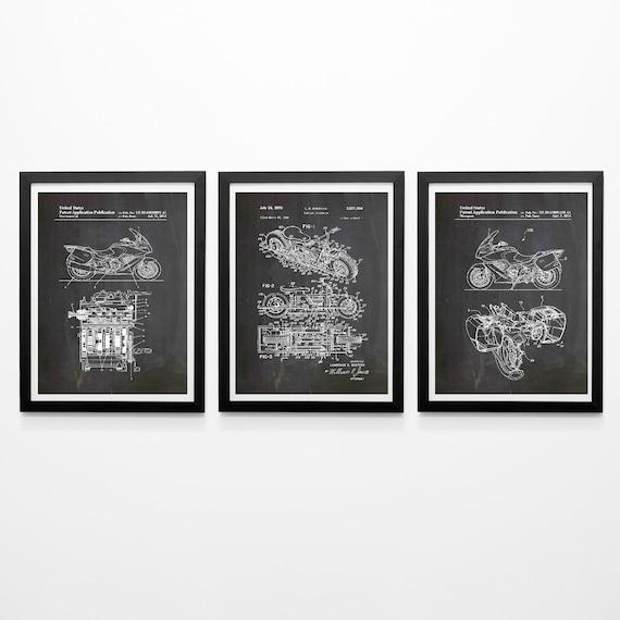 Motorcycle Patent Prints Set of 3 Triumph Motorcycle Blueprints WB465-467