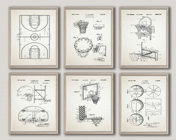 Basketball Posters Set of 6 Patent Prints Basketball Wall Art Basketball Decor Basketball Print Basketball Gift for Basketball WB296-WB301