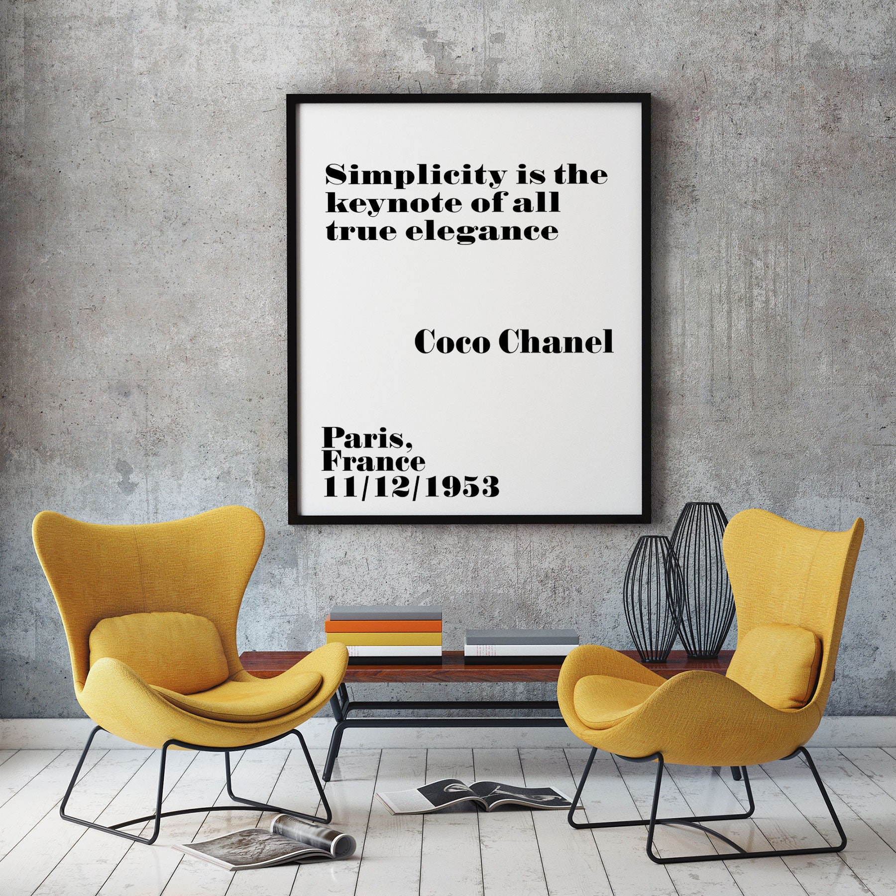 Coco Chanel Simplicity Is The Keynote Of All True Elegance Quote Chanel No 5 Chanel Wall Art Chanel Poster Fashion Decor Fashion Poster