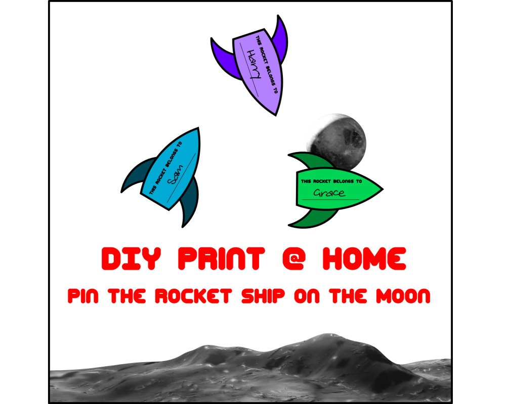 Kids Party Game Space Pin The Rocket Ship On The Moon