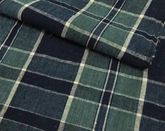Vintage Japanese indigo fabric / Aizome / Koushi / Plaid design / No.21092923