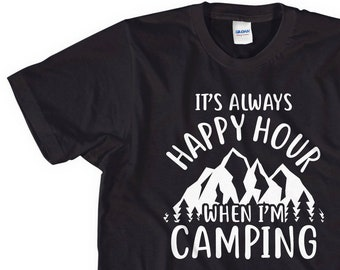 46b74ec15 Womens Camping T-Shirt, Funny Camp Shirt, Lady Men Humour Summer Camp Wine  Drinking Mum Mothers Day, Woman Top L232
