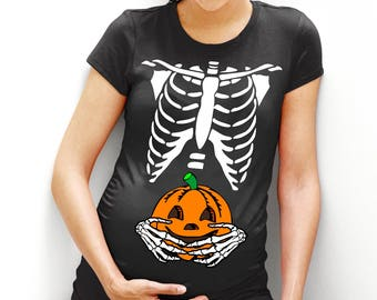 pumpkin belly t shirt maternity halloween shirt top tee bones funny pregnant pregnancy lady women costume fancy dress tshirt mum to be l98