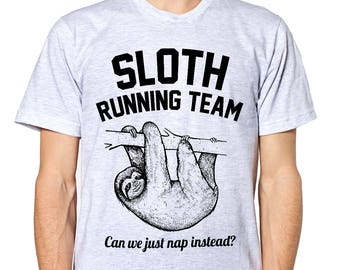 9d5065d45 Sloth T-Shirts, Sloth Running Team T-Shirt, Funny Workout, Shirt, Cute,  Hipster, Swag, Nap, Lazy Day, Teenager, L68
