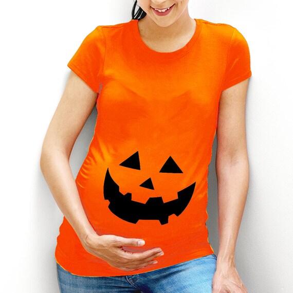 22b7b7fe8c4 Pumpkin Face Maternity T-shirt Halloween Funny Shirt Top