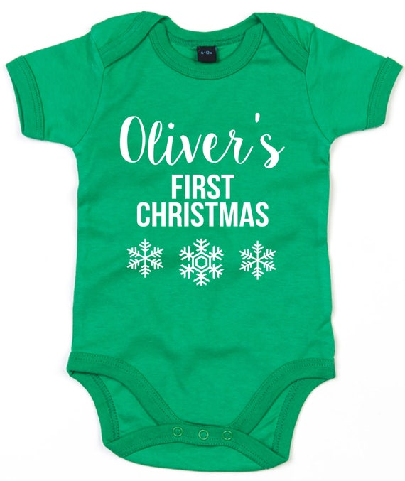 02dc6b4f3e78 Baby Name Personalised Christmas Outfit Babygrow First