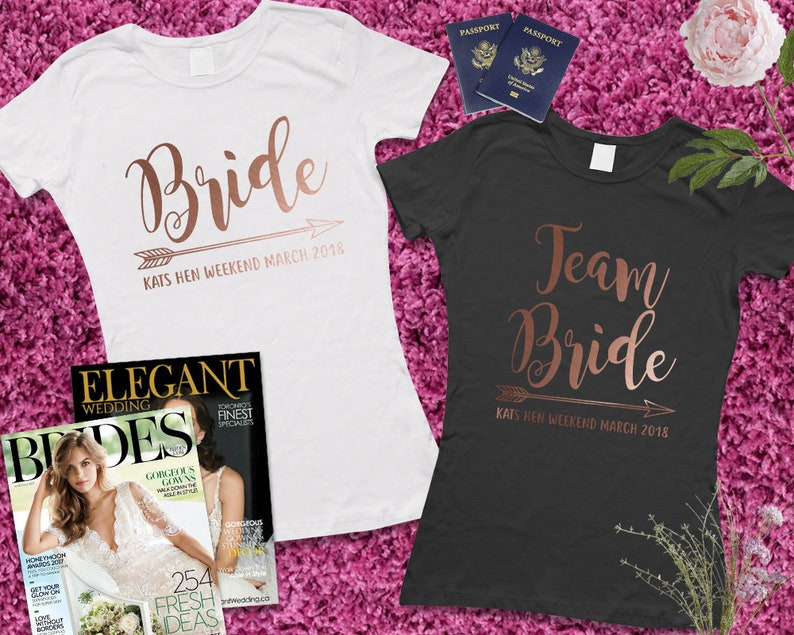 e0cab3b898f66 ROSE GOLD Team Bride Personalised Name T Shirts Hen Party Tops Classy Hen  Do Wedding New Bride Customised T Shirt EM257