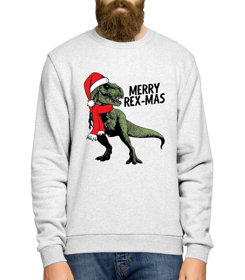 a8161c2744e9 T-Rex Christmas Jumper Dinosaur Christmas Sweater Merry
