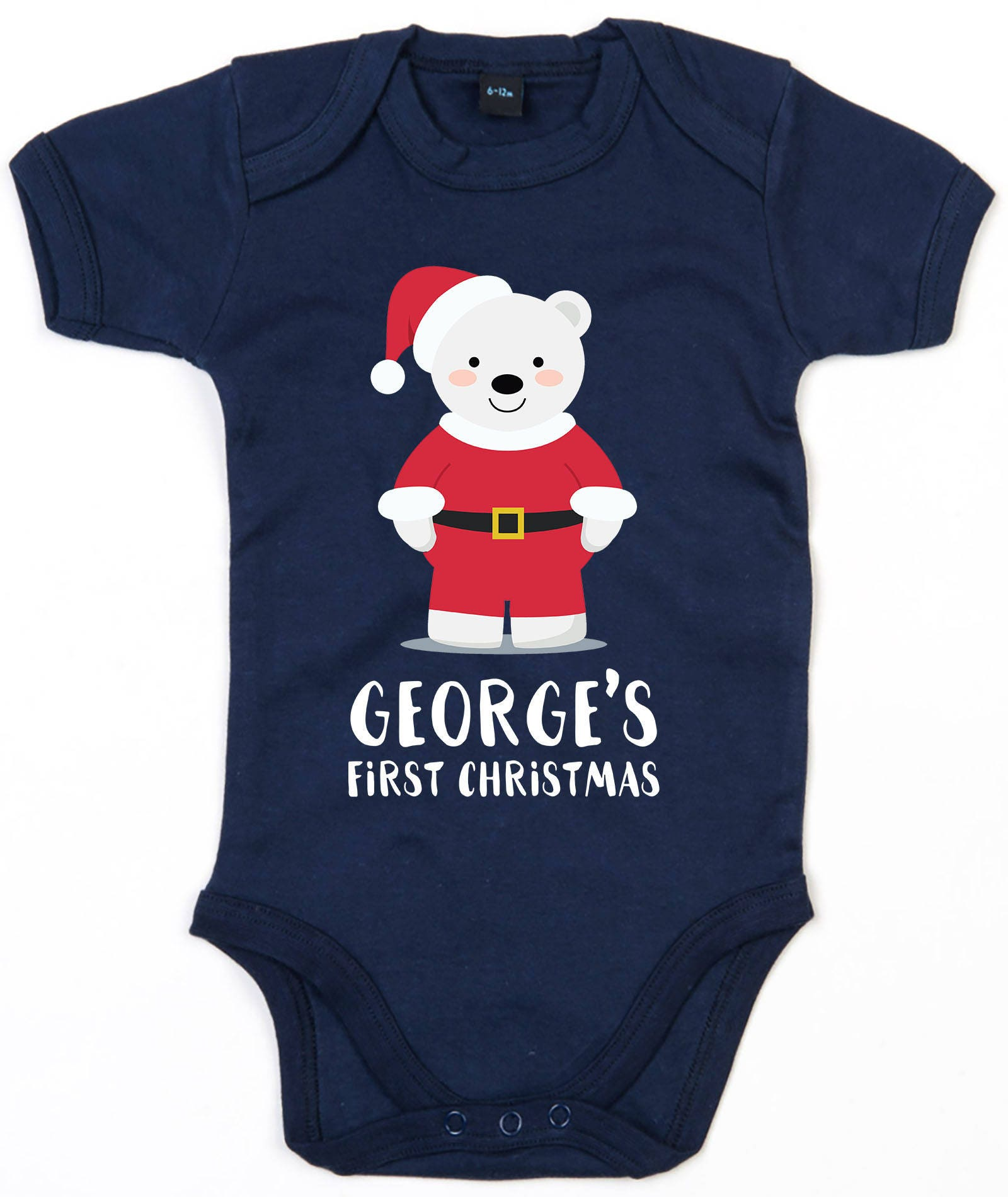 e801129149f12 Personalised First Christmas Baby Grow Cute 1st Xmas