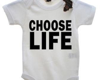 Choose Life Funny Boys Girls Babygrow Unisex All Sizes + Colours Tee Onesie Baby Grow Jump Body Suit