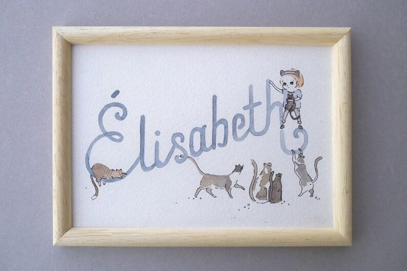 Custom art  Baby Name Art  Nursery Art   with name and image 0