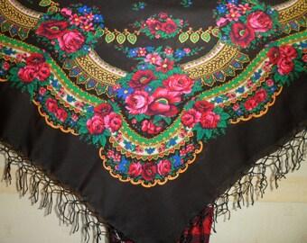 """SALE! Big BLACK Folk SCARF Ukrainian Russian Shawl Floral Shawl, Ethnic Shawl With Tassels.43.7""""x43.7"""" (111cm x 111cm)  Wool, Acrylic."""