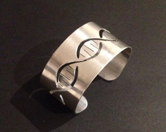 DNA Bracelet Cuff Sterling Silver