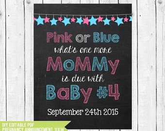 Pregnancy Announcement Chalkboard Printable Mommys Due With Baby Number 4 14x11 PDF You Edit ADOBE READER