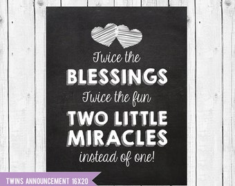 Twins Pregnancy Announcement Chalkboard, Twins are a blessing announcement, Pregnant With Twins Instant Download JPEG Printable