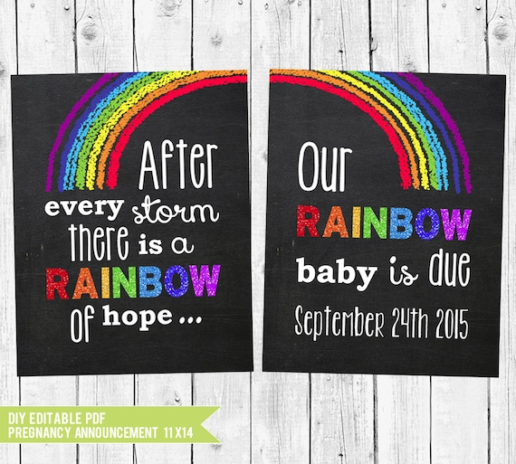 rainbow baby pregnancy announcement chalkboard pregnancy etsy