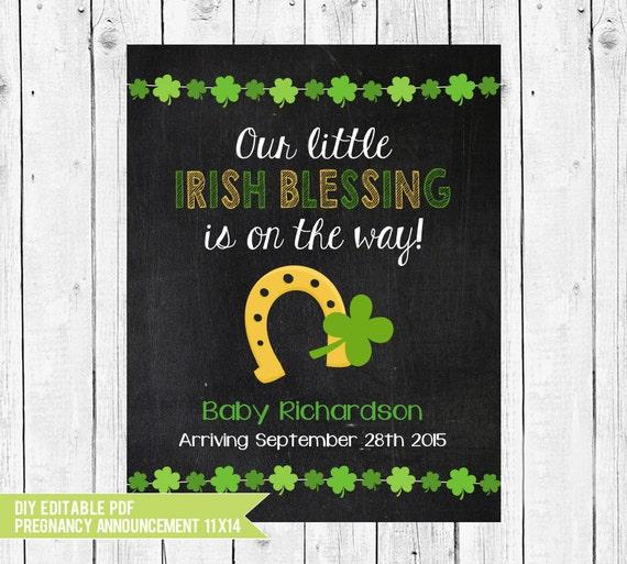 St Patricks Day Pregnancy Announcement Chalkboard Printable Irish Blessing Photo Prop DIY Edit With ADOBE READER
