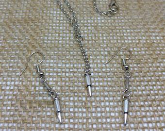 Bullet Charm Jewelry Set Lariat Y Necklace Earrings Gun Pistol Shootergirl Ammunition Jewelry