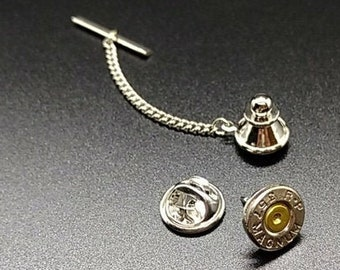 Custom bullet tie tack with 2 backs including chain