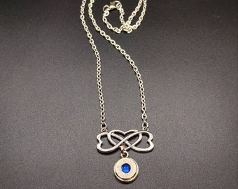 Heart Infinity Bullet Necklace Entwined Hearts Custom Birthstone Calibers Birthday Valentine's Day Love