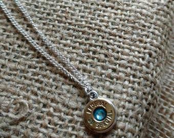 You Choose Sterling Silver Bullet Necklace Swarovski Crystal Pendant Ammo Necklace Wedding Birthstone Shootergirl