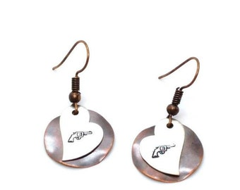 Copper and aluminum handstamped pistol earrings