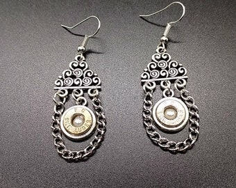 Floral pearl and chain bullet earrings