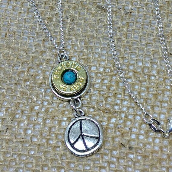 Peace Sign Bullet Necklace Ammo Jewelry 45 Caliber Freedom 45 ACP Real  Turquoise Shootergirl Ammunition Jewelry