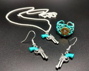 Turquoise blue pistol jewelry set 3 pieces