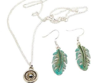 Metallic silver bullet necklace and painted feather earrings