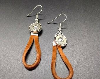 Leather loop bullet earrings, choose caliber