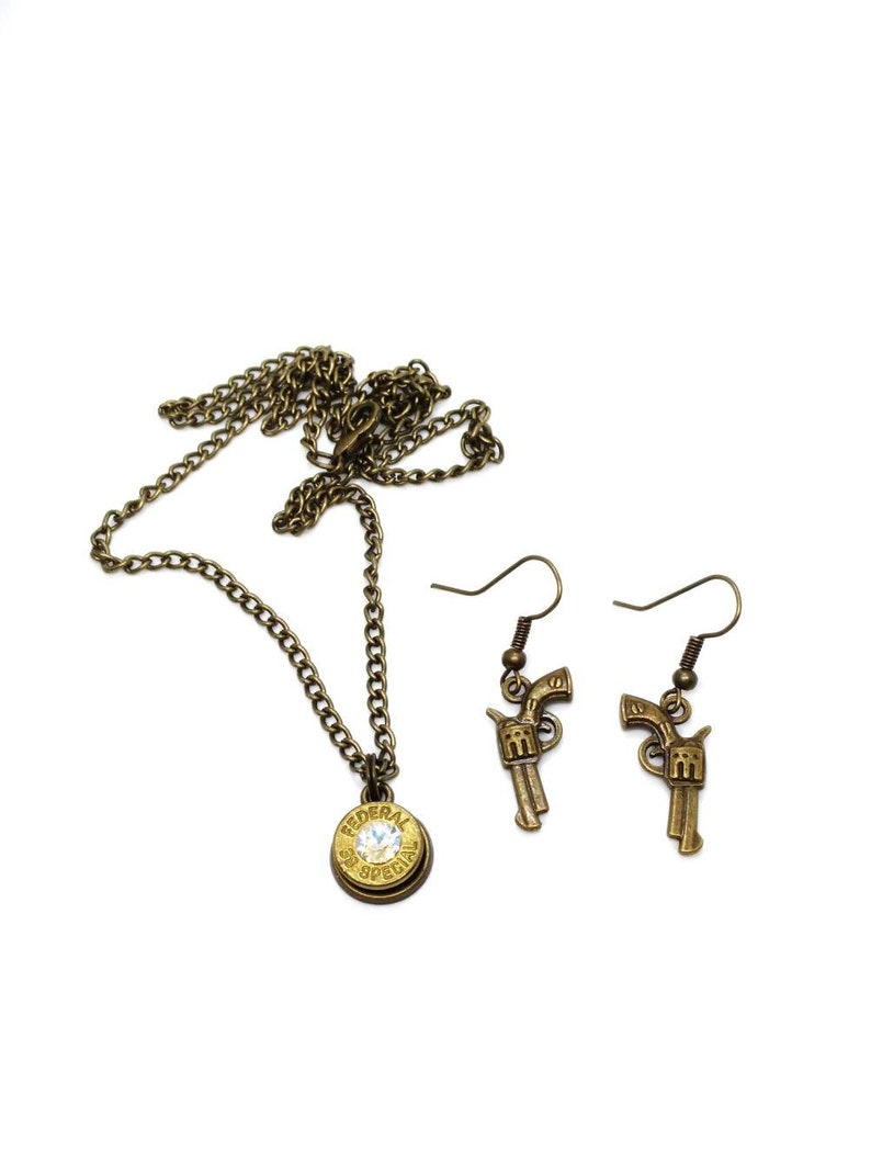 Antique brass .38 special bullet necklace and pistol earrings