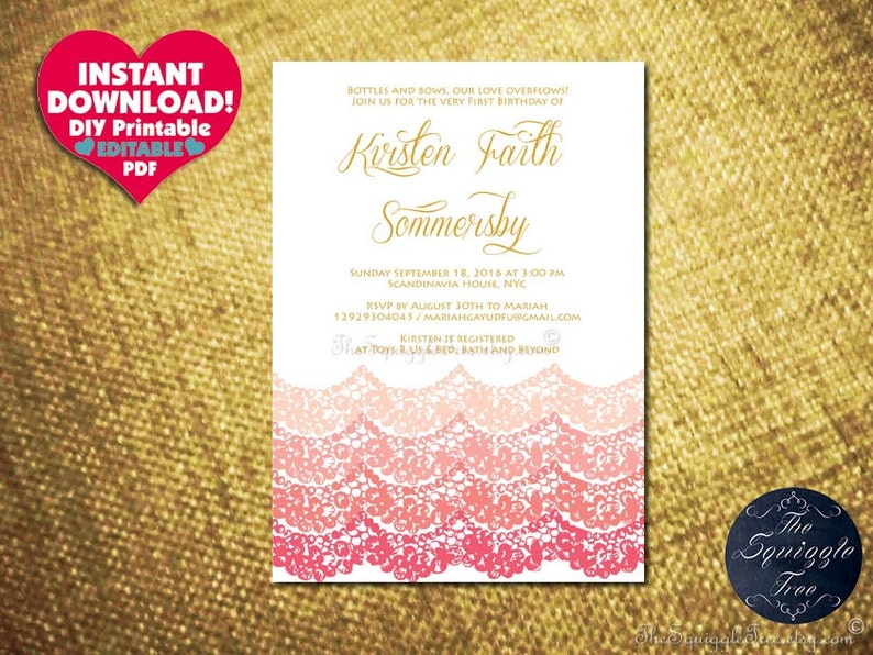 Editable PDF Instant Download LACE Party Invitation Birthday Bridal Shower  Baby Christening Coral Pink Template DIY Printable Beach Kid New