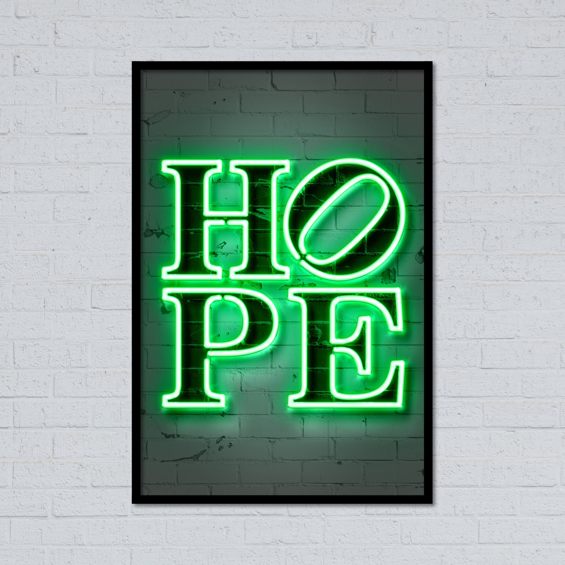 Hope Wall Art Print Hope Poster Neon Hope Neon Art Neon Etsy